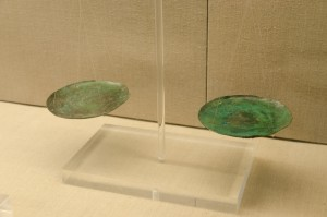 Bronze weighing dishes from the island of Thera, Santorini, Greece, Minoan civilization, 2000–1500 BC By Norbert Nagel (Own work) [CC BY-SA 3.0 (http://creativecommons.org/licenses/by-sa/3.0)], via Wikimedia Commons